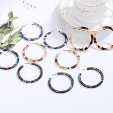 2019 ZA Jewelry Acrylic Resin Oval Earring For Women Geometry Big Circle Tortoiseshell Stud Earrings Acetate Brincos Wholesale(China)