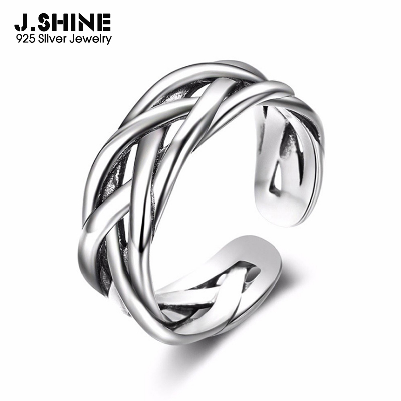 JShine Vintage Silver Ring 925 Trendy Waving Sterling Silver Open Cuff Ring Adjustable Finger Rings for Women Gifts Fine Jewelry