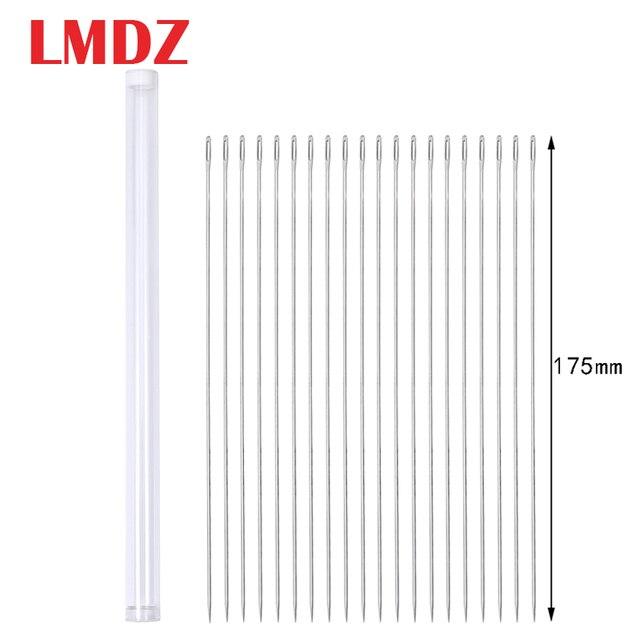 LMDZ 20Pcs 175mm גדול גודל גדול ארוך פלדת מחט גדול חורי תפירת מחט בית יד תפירת כלים עם מחט בקבוק