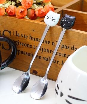 New Stainless Steel Coffee Spoons Ceramic Cat Spoons Unique Ice Cream Scoop Flatware Black White W7948