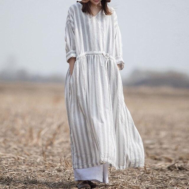 6ec1b5ec2fd SCUWLINEN 2019 Spring Summer Dress V-neck Vintage Stripes Waist Drawstring  Long Linen Cotton Dress Casual Women Dress VestidoW33