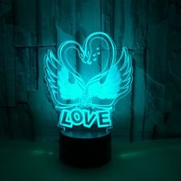 New Swan Love 3d Lamp Remote touch USB and battery power supply Led Night Light Novelty Luminaria Led Usb Led Light