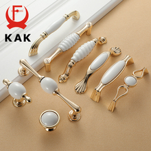 KAK белая Creamic золотая для шкафа ручки и ручки выдвижные ящики кухонные дверные ручки Золотая Мебельная ручка дверная фурнитура для шкафа