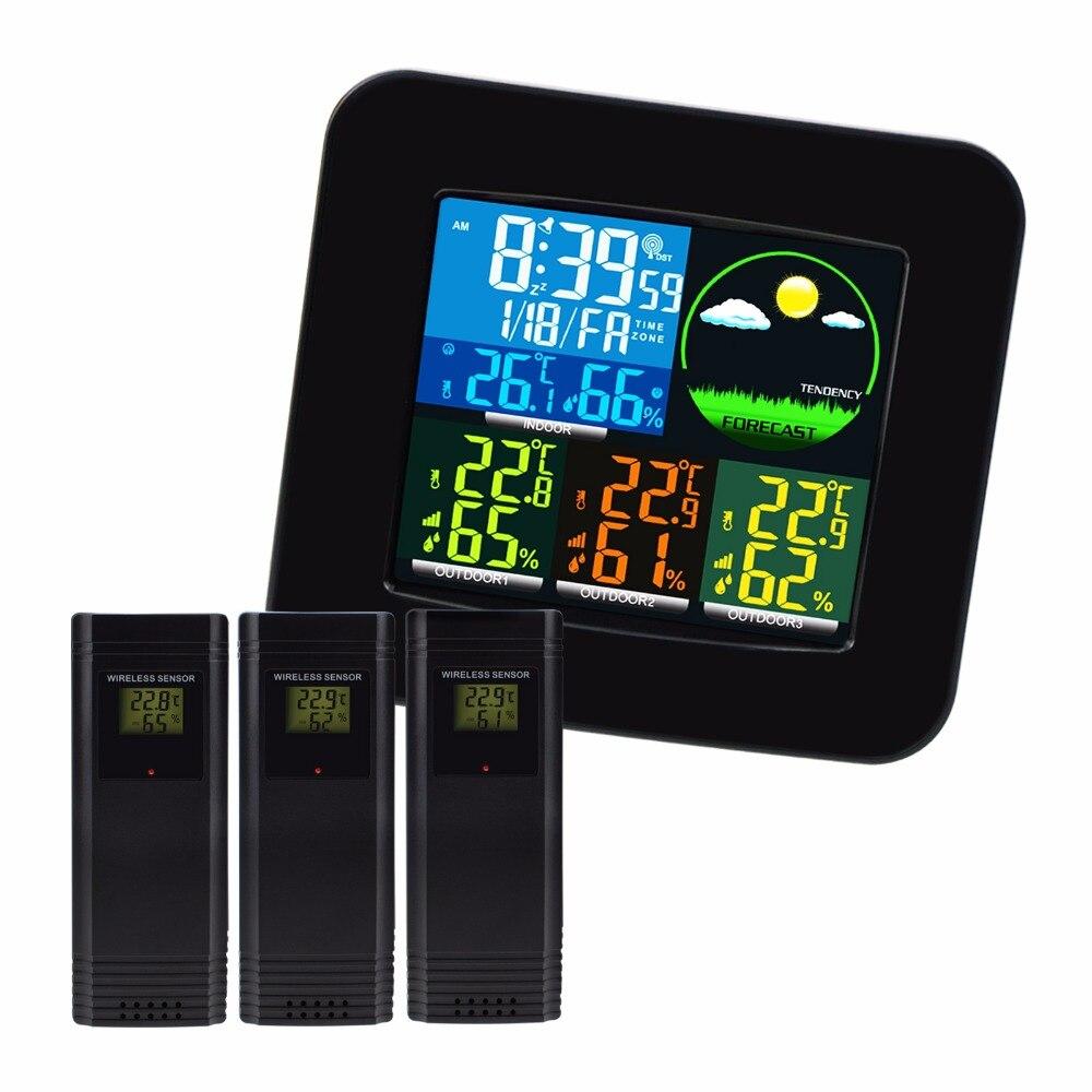Thermomètre hygromètre numérique Station météo 6 prévisions météo RCC DCF MSF w/3 capteur sans fil écran LED lcd