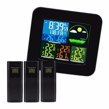 Thermometer Hygrometer Digital Weather Station 6 Weather Forecast RCC DCF MSF w/ 3 Wireless Sensor LED LCD Display