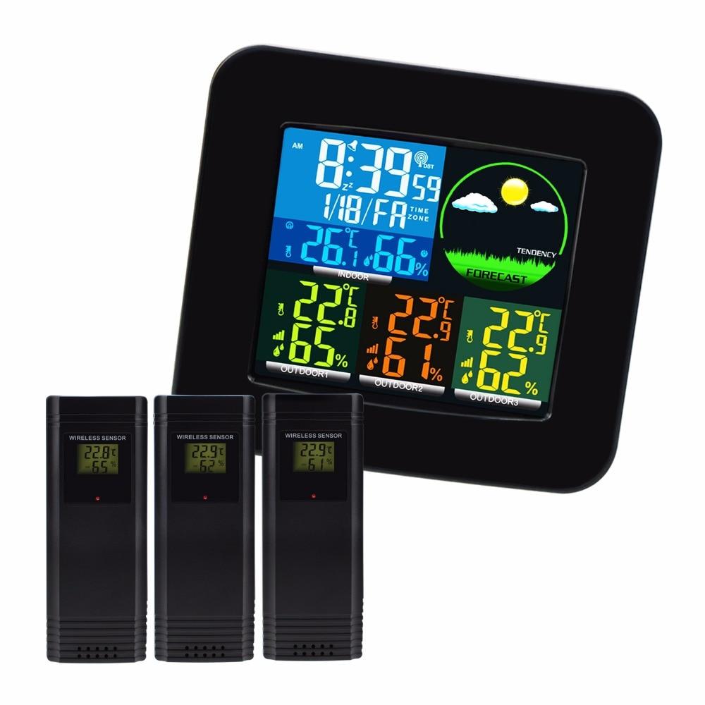 WEA-47_UK Thermometer Hygrometer Digital Weather Station 6 Weather Forecast RCC MSF w/ 3 Wireless Sensor LED LCD Display напольный вентилятор mystery msf 2432