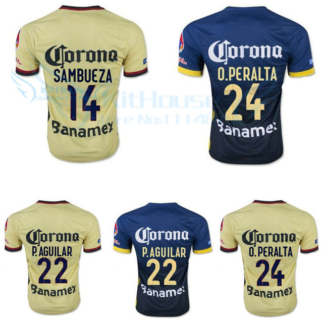 cced40769 2015 2016 Club America Aguilas Jersey camisa de futebol longe o. Peralta r.  Sambueza e. Aguilar d. Benedetto o. Martinez