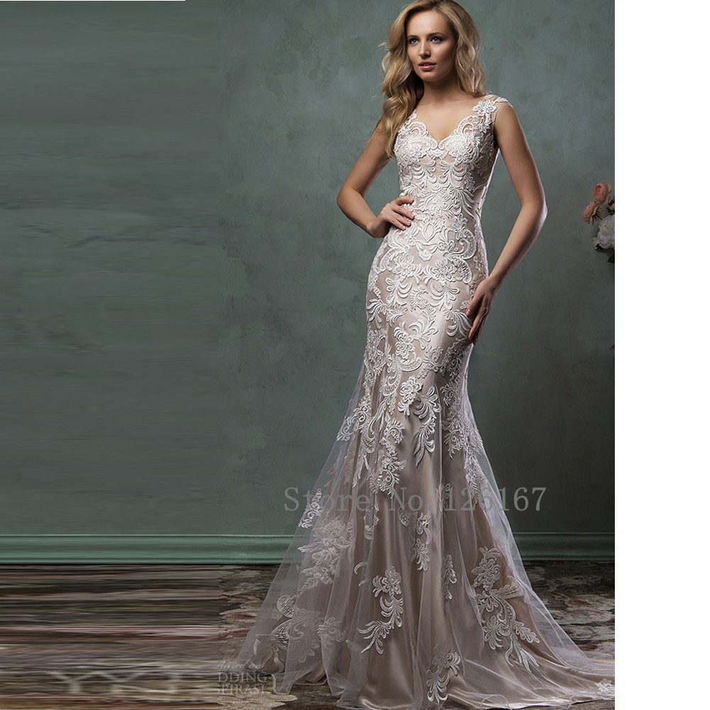 Buy gorgeous wedding dress v neck for Where to buy yasmine yeya wedding dresses
