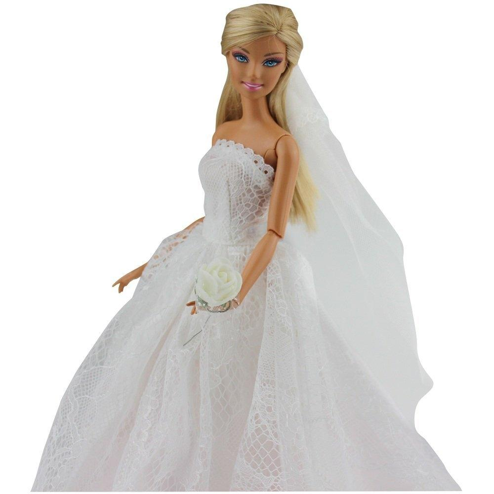 Aliexpress Buy LeadingStar Doll Bridal Wedding Gown Embroidery Dress With Veil White For Barbie Princess Evening Party Clothes Zk25 From Reliable