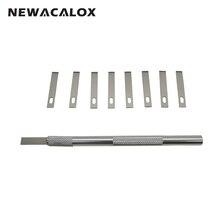 NEWACALOX 12pcs Sculpting Engraving for PCB Repair Mobile Phone Films DIY Accessories Metal Knife Blades Pen Wood Carving Tools