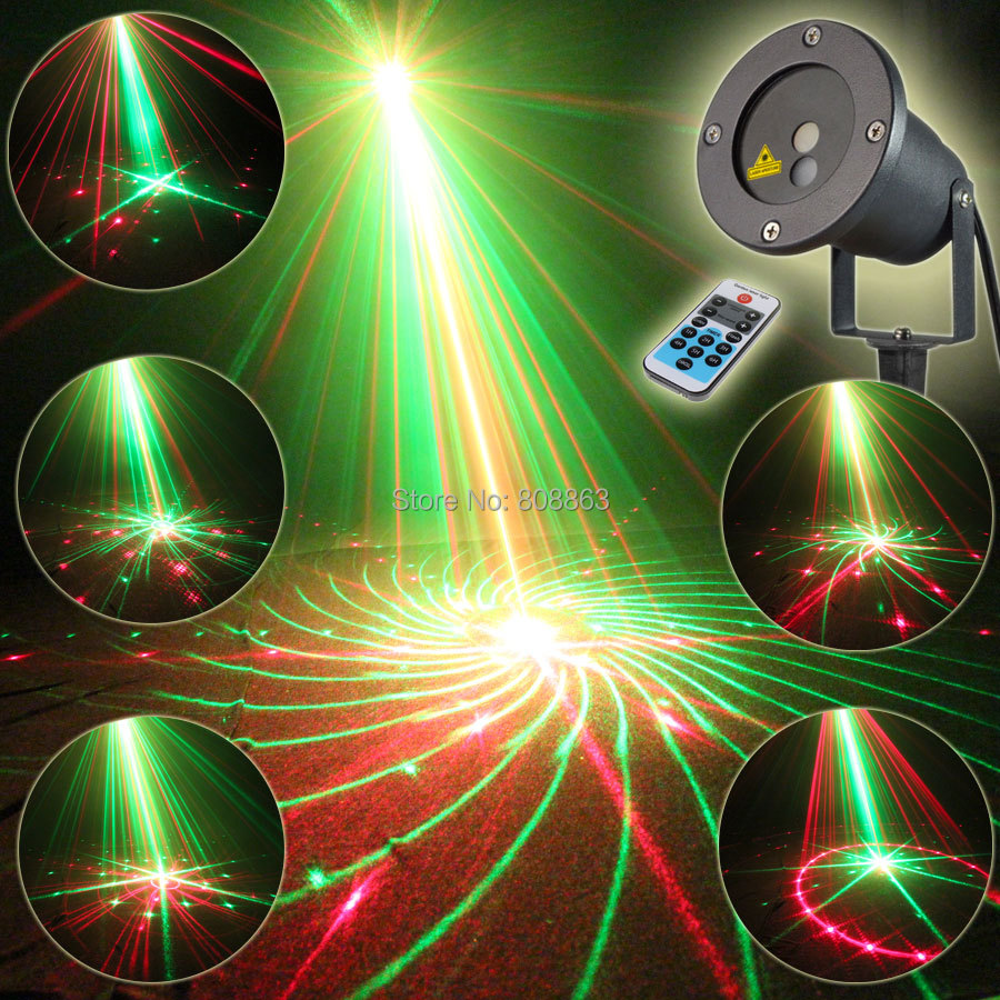 Mini R&G Remote Outdoor Waterproof Xmas Laser projector 24 Big patterns Landscape Club Party House Tree Garden Outside Light T98