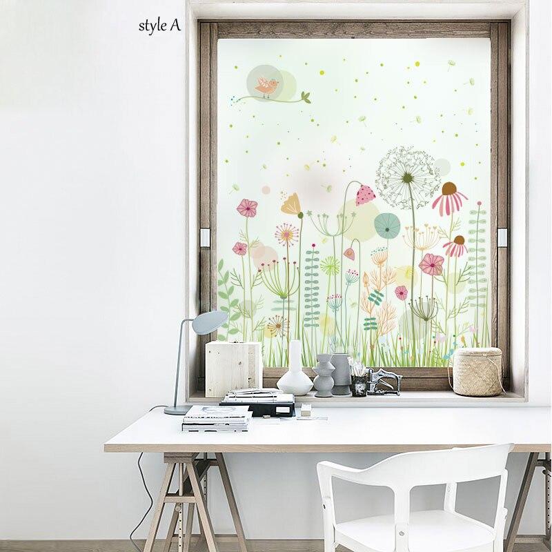 Film de fenêtre décoratif de taille personnalisée statique translucide intimité givré pas de colle imperméable à l'eau anti-déflagrant chambre salle de bain
