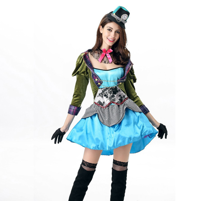 Women Deluxe Alice in Wonderland Sexy Mad Hatter Costume Halloween Fantasia Party Cosplay Fancy Dress Cosplay Women
