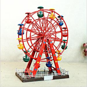 Handmade Antique Wrought Iron Ferris Wheel Model Creative Rotating Ferris Tower Home Desktop Decoration Crafts For Kids Gifts