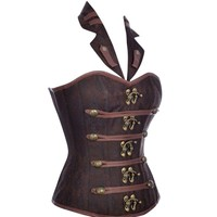 2017 Hot Sexy Clubwear Plus Size Corsets And Bustiers Satin Leather Steampunk Clothing Patterns Black Brown