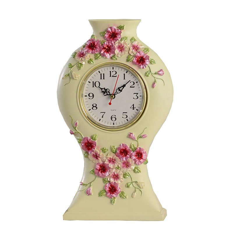 The New Pastoral Resin Desk Clock Creative Living Room Decorative Table  Clock Romantic Home Decor Mute