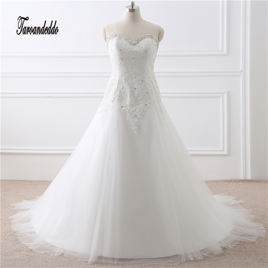In Stock Applique Lace And Tulle Bandage Plus Size Wedding Dresses Beading Bridal Dresses vestido de