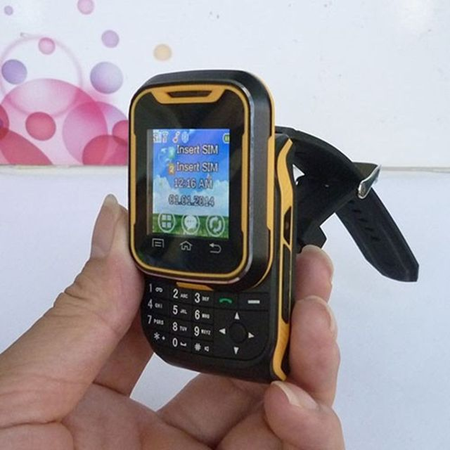 Yellow T9 Unlocked Watch Phone Touch Screenkeys Quadband Slider