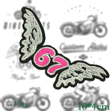 JOD 10*4cm 67 Wing DIY Iron on Decorative Biker Patches for Clothes Applications Embroidery Patch Applique Stickers Badge Fabric big punk skull patch iron biker morale wings back patch badge large embroidery patches for clothes jacket jeans applique nl210