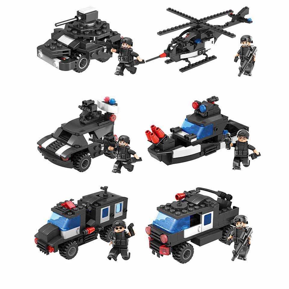 6IN1 سوات مدينة بناء كتل للأطفال هليكوبتر السفينة نموذج السيارة الخالق مايكرو التجميلية الطوب لعب العالم هدية