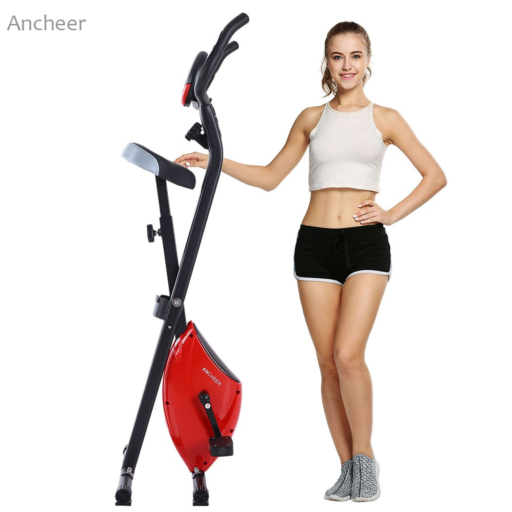 ANCHEER new X-shape Folding Magnetic Upright Exercise Bike with Pulse Fitness Equipment 100Kg Magnetic Upright Exercise Bike exerpeutic 1000 magnetic hig capacity recumbent exercise bike for seniors