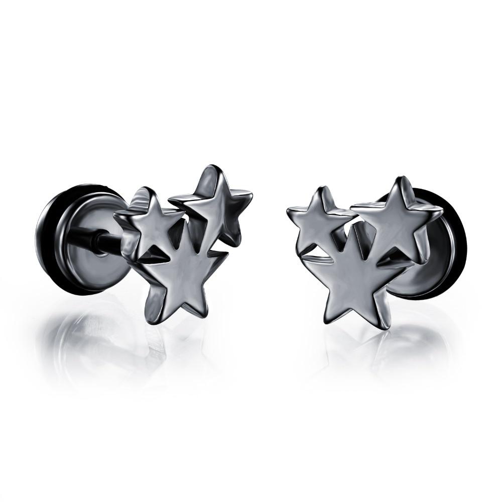 Men earrings screw back black earring for men stud earrings w/ stars stainless steel earring jewelry wholesale GE301