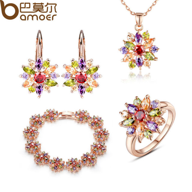 BAMOER 3 Colors  Rose Gold Plated Bridal Jewelry Sets & More for Women Wedding with High Quality AAA Zircon