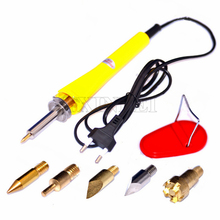 цены Wood Burning Pen Soldering Iron Pen tool set+5Pcs Pyrography pen tips for Leather wood gourd crafts Art DIY tool