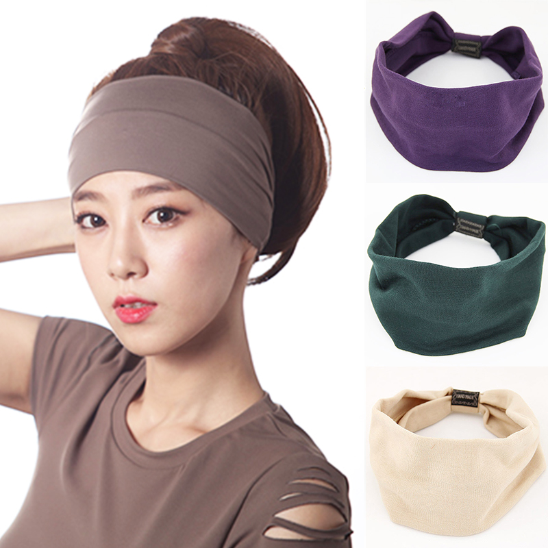 Hot 10 Colors Cotton Hair Band Elasticity Soft Girls Women Adjustable Comfortable 1PC Wide-brimmed Cloth Hair Accessory   Headwear