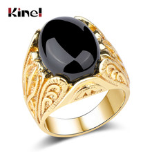 Kinel Fashion Dubai Gold Big Ring Men Wedding Paty Accessories Punk Black Ring Vintage Jewelry Wholesale 2018 New(China)
