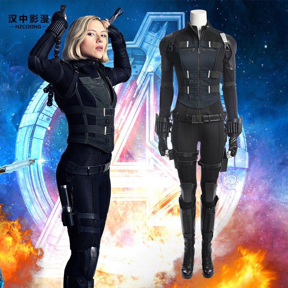 Avengers Infinity War Black Widow Costume Carnival Halloween Superhero Black Widow Jumpsuit Cosplay Natasha Romanoff costume