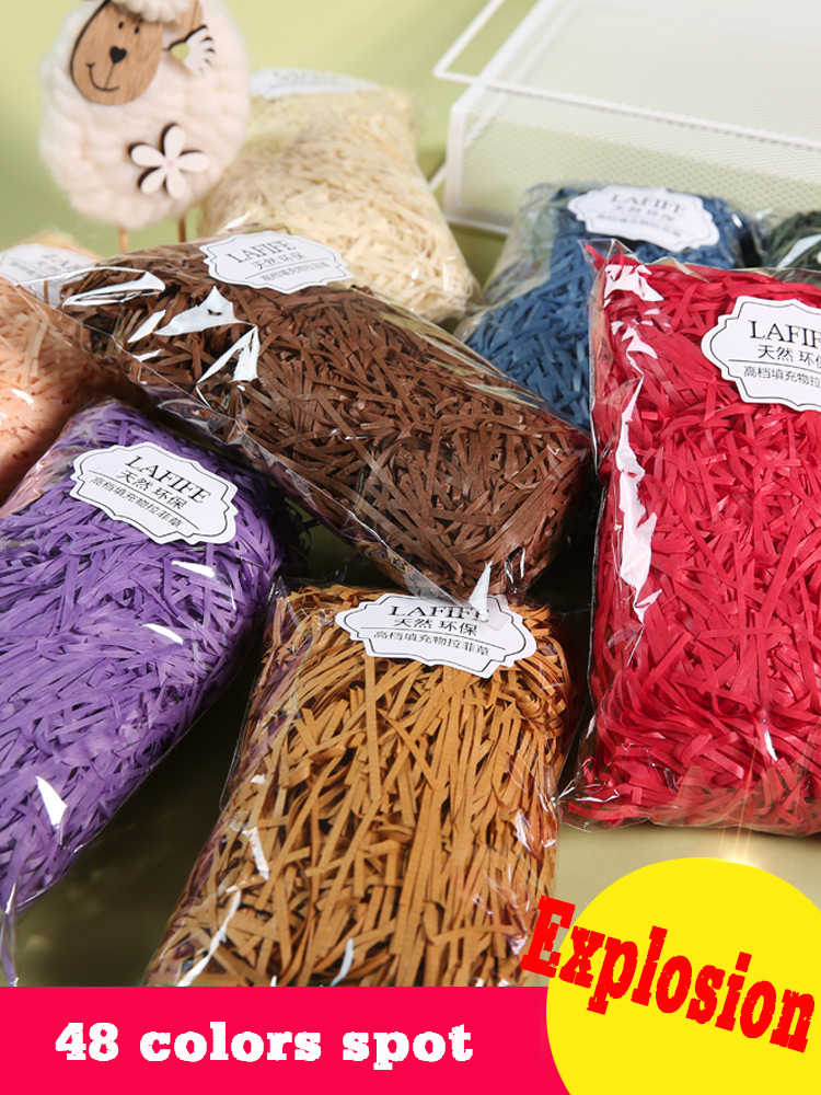 100g/bag DIY Dry Straw Gifts Box Filling Material Wedding/Birthday Party Decoration Shredded Crinkle Paper Raffia Light color