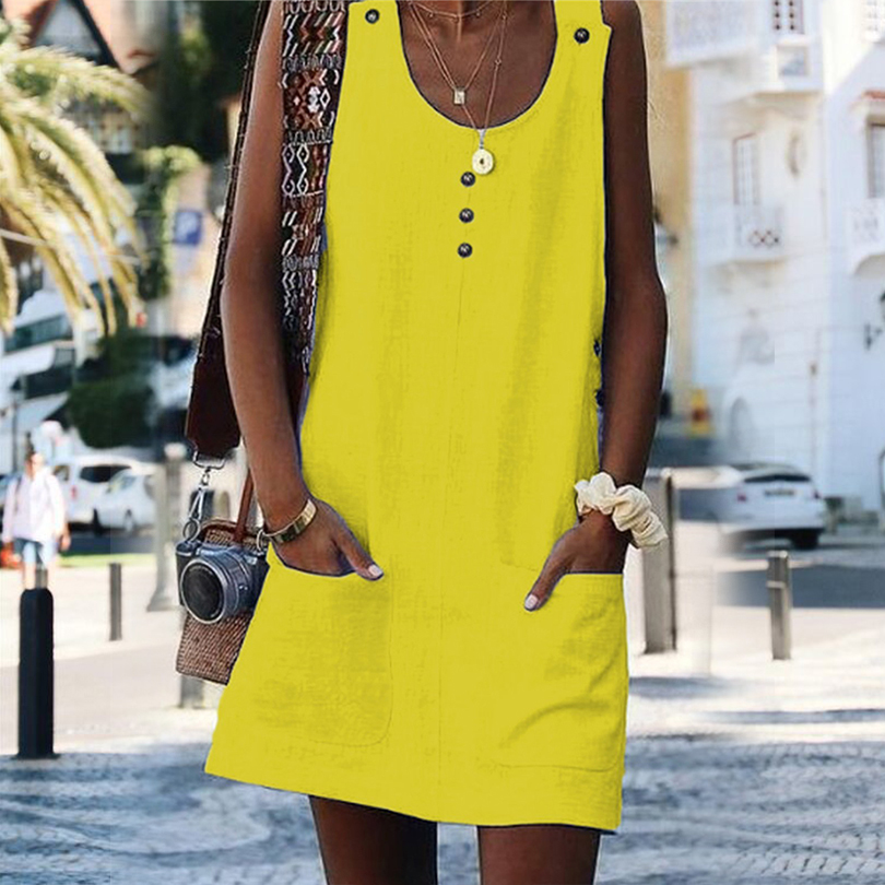Sexy O Neck Pockets Button Women Beach Short Dress Solid Sleeveless Sling Female Dress 2019 Summer Fashion Casual Party Clothes in Dresses from Women 39 s Clothing
