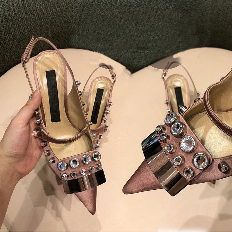 Tipe Sexy Pic Pointu Talons Pic Hot Hign Élégante as Sandales Summer Femme As Cristal Orteils Mince Chaussures Mode Partie 2018 O6Hqw