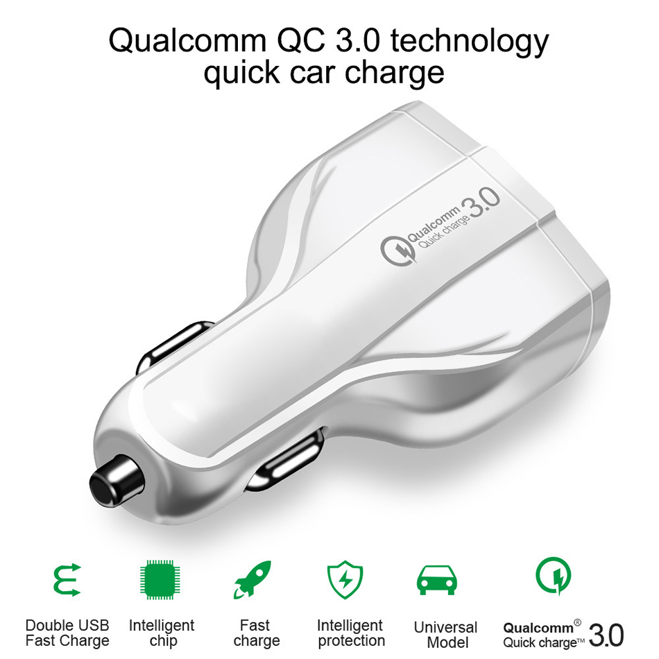 !ACCEZZ Universal Mini Double Port USB QC Car Charger Quick Charge 3.0 2.0 With LED Fast Type-C Car Phone Charger For Samsung S8 (4)