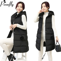 PEONFLY 2018 Fashion Solid Color Hooded Vest Winter Autumn Women Fur Ball Cotton Warm Casual Waistcoat Female Sleeveless Jacket