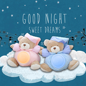25cm Kawaii Teddy Bear Musical Light Plush Dolls Pat Lamp Sleeping Comfort LED Night Light Appease Bear Toys for Children Gifts(China)
