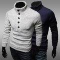 2016 new arrival spring autumn buttons design slim fit pullovers men turtleneck knitted sweaters mens casual bottoming knitwear