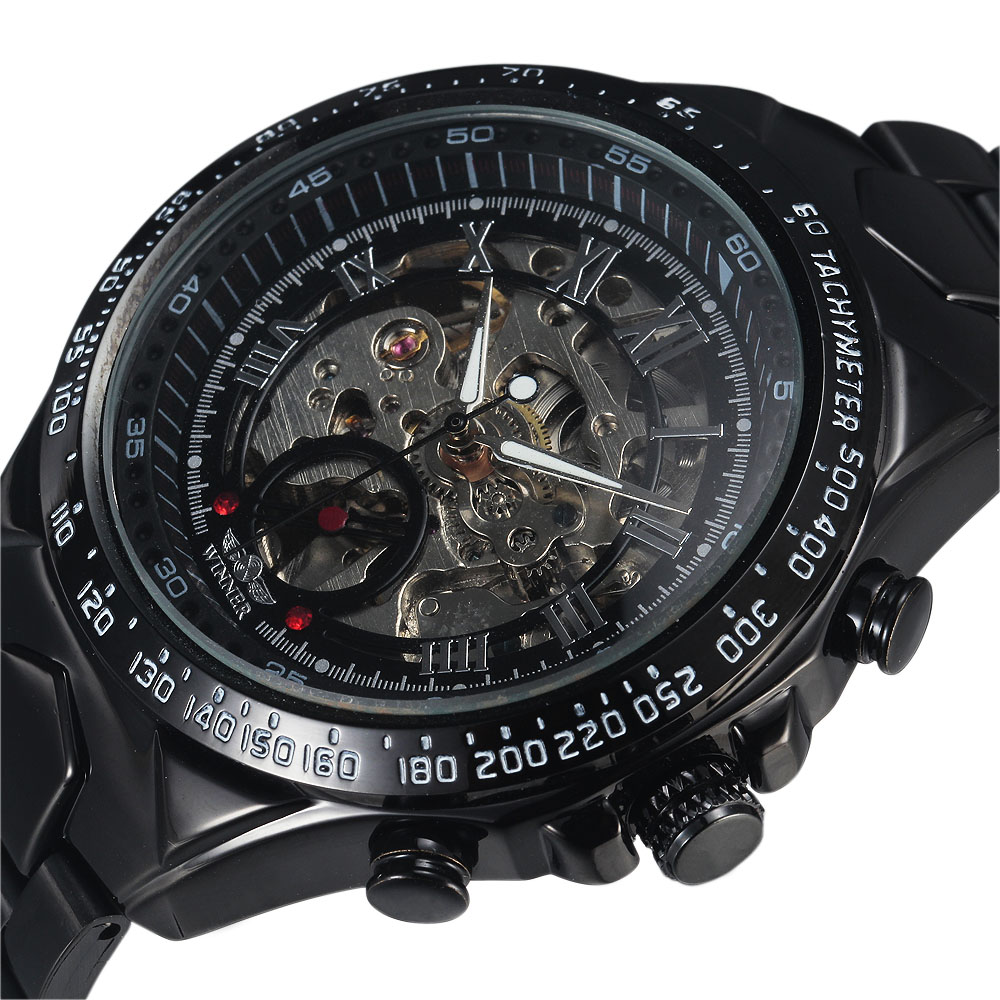 2016 Top Brand Winner Stylish Design Formal Men Mechanical Automatic Self-Wind Black Steel Band Skeleton Dress Wrist Watch Gift