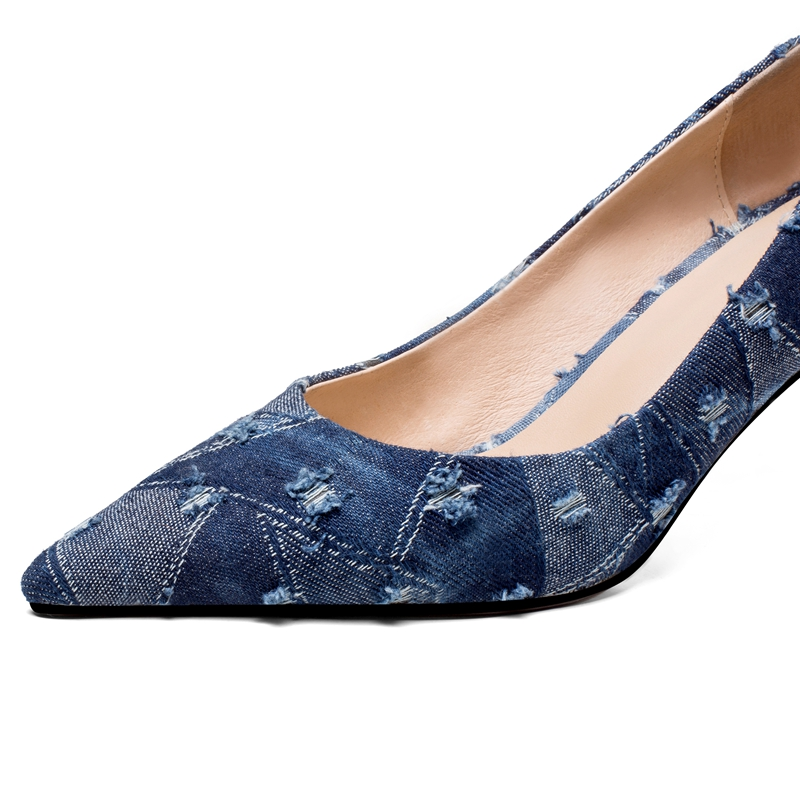 Ayakk.'ten Kadın Pompaları'de ORCHA LISA Denim Ayakkabı kadın Yüksek topuklu Bayan pompaları Ince yüksek topuk Sığ sivri burun Moda Seksi Ilkbahar/Sonbahar pompaları C540'da  Grup 3