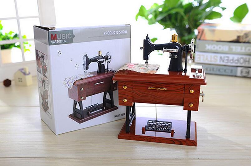 복고풍 음악 상자 빈티지 자물쇠 재봉틀 모델 음악 - 가정 장식 - 사진 5