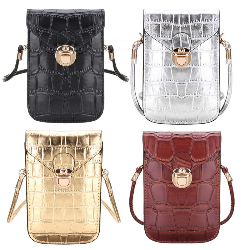 Silver Mobile Phone Mini Bags Small Clutches Shoulder Bag Crocodile Leather Women Handbag Black Clutch Purse Handbag Flap