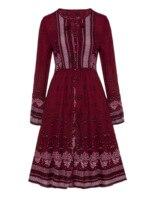 Summer Women Dress New Boho Embroidery Dress V Neck Lace Up Bohemian Red Kaftan Knee Length