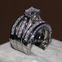 Vecalon Fine Jewelry Princess Cut 20ct Cz Diamond Engagement Wedding Band Ring Set For Women 14KT