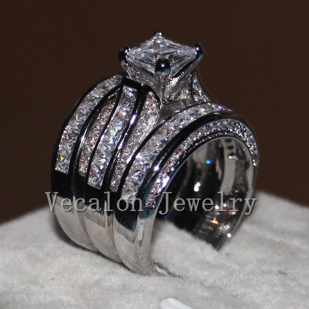 Vecalon Fine Jewelry Princess Cut 20ct 5A Zircon Cz