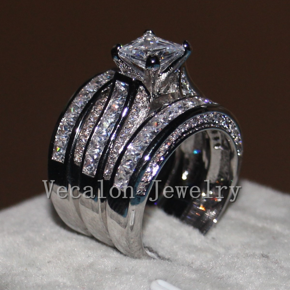 engagement rings and wedding band sets cz wedding band Ladies Wedding Engagement Ring Wedding Band 2 Two Pieces
