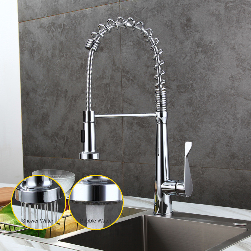 Kitchen Sink Faucets Brass Pull Out/Down Kitchen Sink Mixer Tap With Spring Hose Single Handle Hot and Cold Kitchen Crane Faucet