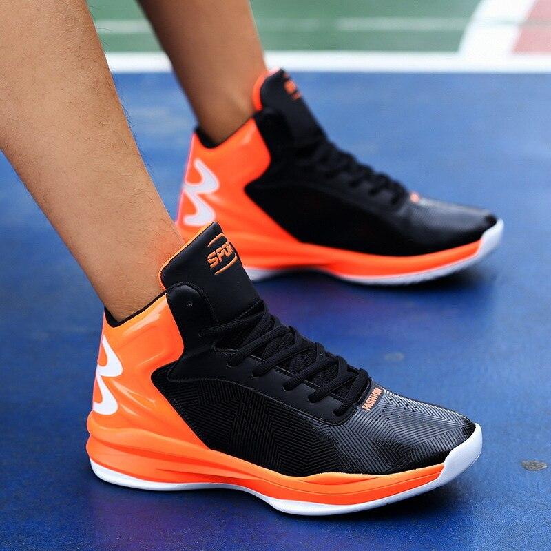Baskets hommes 2018 nouvelles chaussures de basket-ball assorties de couleur haut-haut, amorti en plein air chaussures pour hommes de basket-ball de grande taille