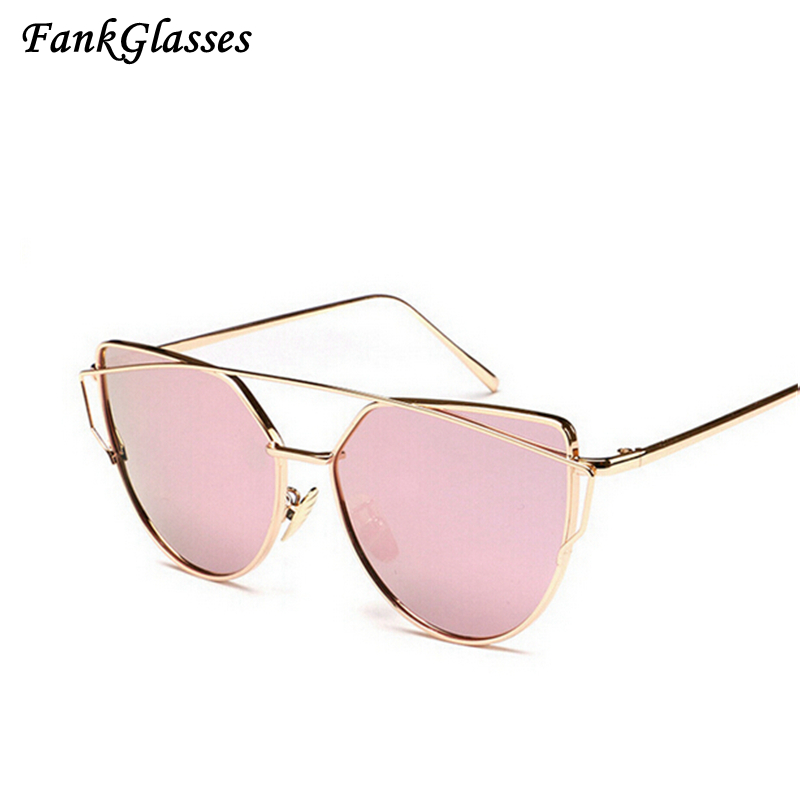 FankGlasses Sunglasses Women Cat Eye Glasses Fashion Ladies Brand Designer Twin-Beams Sun glasses Coating Mirror Female Sunglass