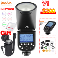 Godox V1 Round Head Flash Speedlight V1C V1N V1S for SONY Canon Nikon Fujifilm Olympus Camera Flashlight TTL HSS Li ion Battery